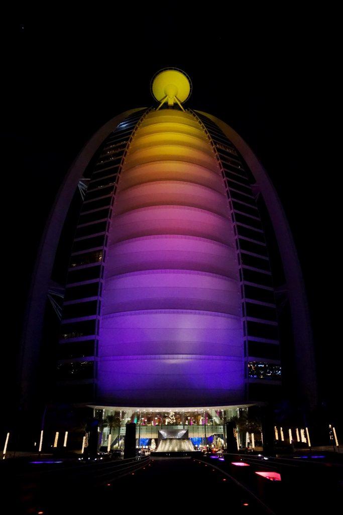 Podświetlona powłoka Burj Al Arab